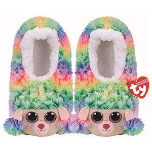 TY Fashion Slipper Sock Large Rainbow Faux Fur